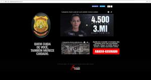Hotsite contém vídeo que mostra a situação crítica vivida pelos policiais civis, além de um link para um abaixo-assinado